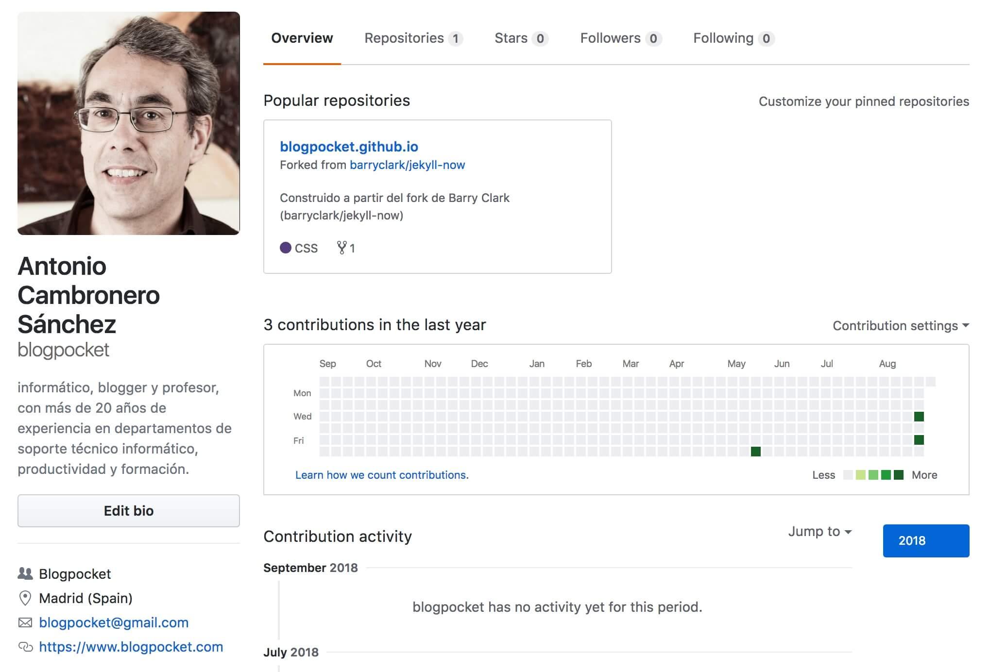 github-perfil Cómo tener un blog con GitHub y Jekyll, fácilmente y en dos minutos