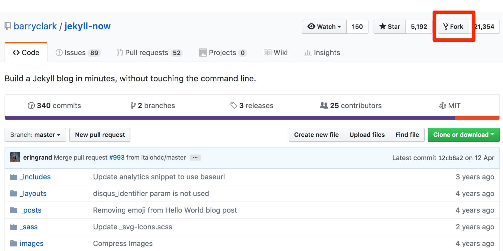 hithub-fork Cómo tener un blog con GitHub y Jekyll, fácilmente y en dos minutos