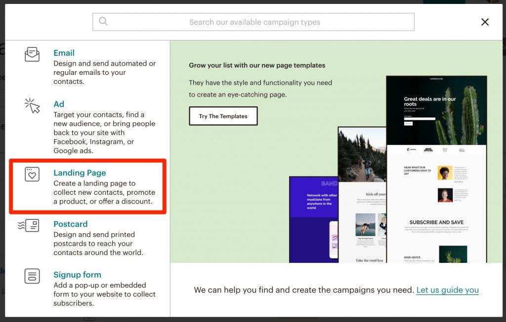 landing-page-3-1024x653 Cómo crear una landing page con Mailchimp