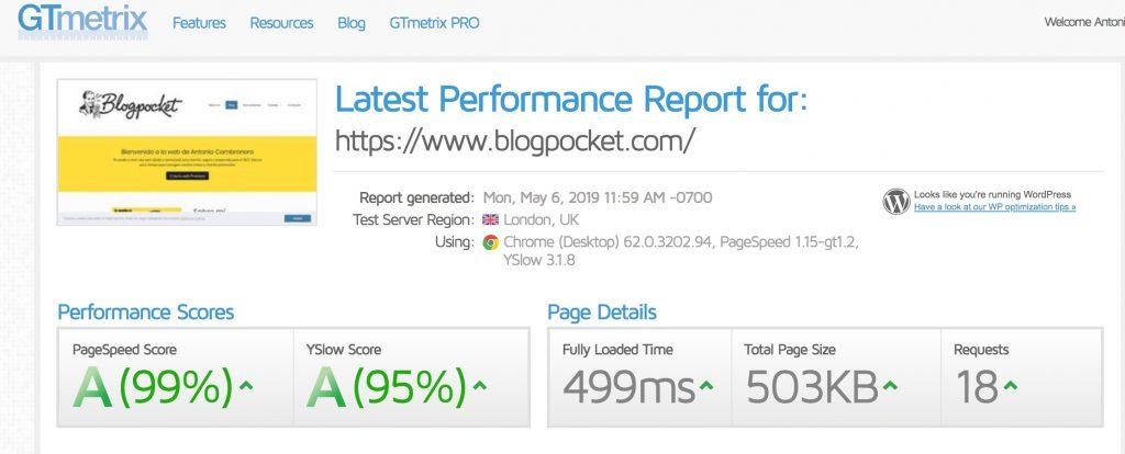 gtmetrix-blogpocket-v2-1024x414 Mantenimiento de WordPress: la guía definitiva para cuidar tu blog