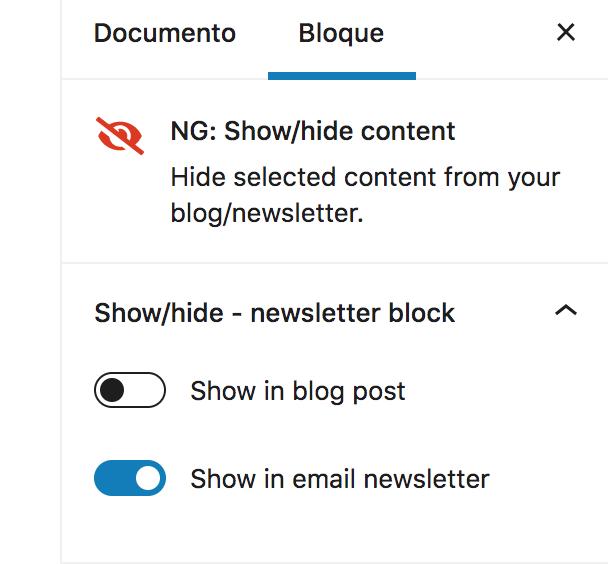 bloque-mostrar-ocultar-contenido Cómo publicar una newsletter desde el editor de bloques de WordPress, aka Gutenberg