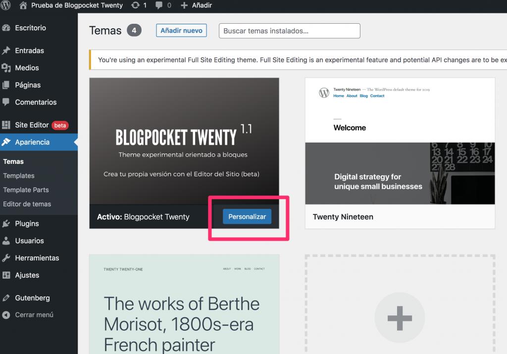 BLOGPOCKET-20-4-1024x715 Blogpocket Twenty 2.0: cómo probar la Edición del Sitio Completo (FSE, por sus siglas en inglés)