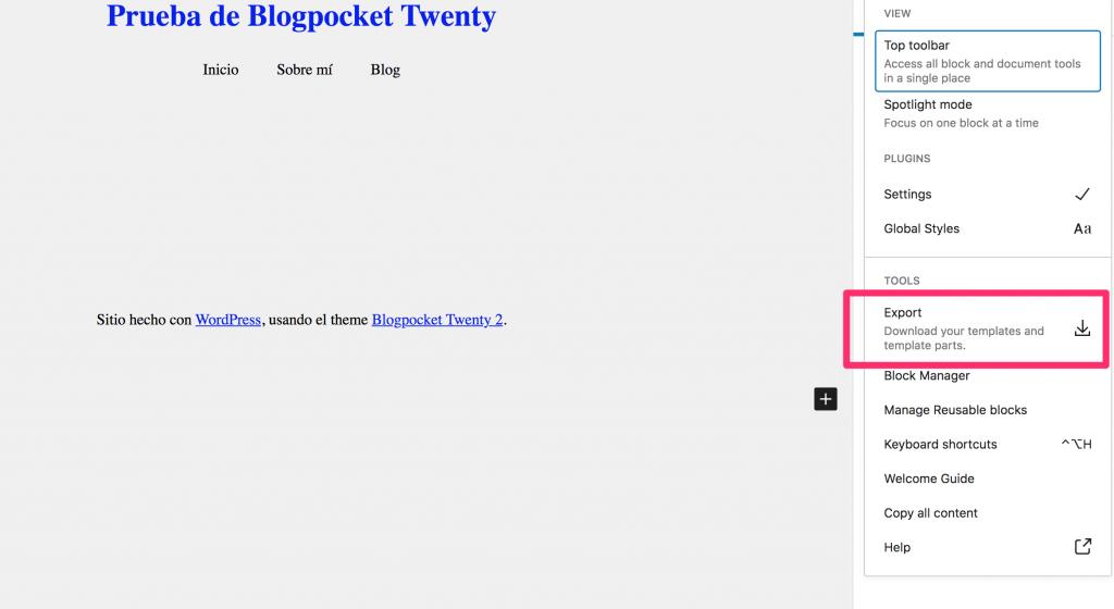 BLOGPOCKET-20-7-1024x560 Blogpocket Twenty 2.0: cómo probar la Edición del Sitio Completo (FSE, por sus siglas en inglés)