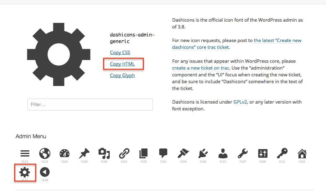 dashicons-1 Botones HTML con iconos Dashicons y Font Awesome