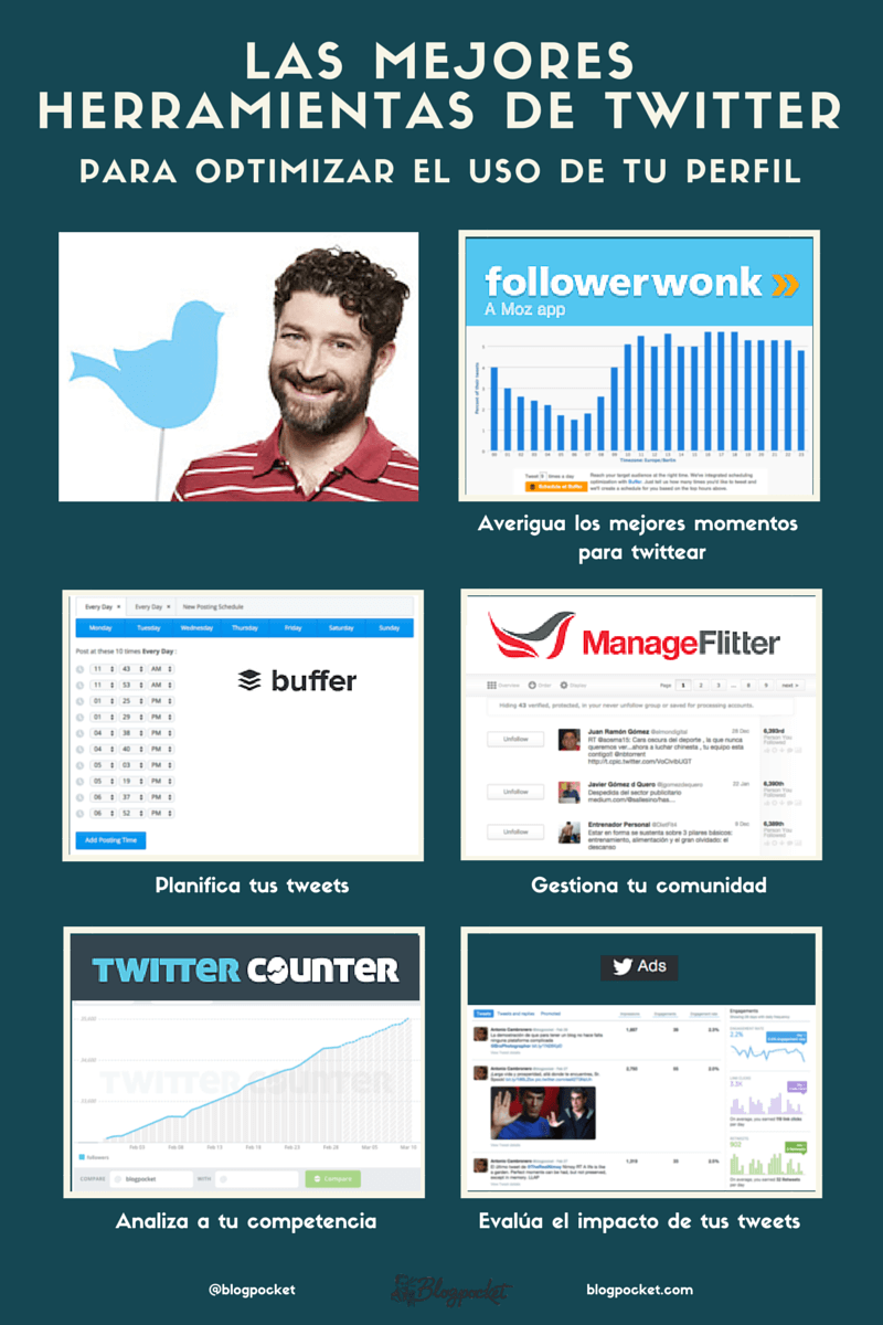 herramientas-twitter-INFOGRAFIA Cómo conseguir un blog profesional: 11 infografías
