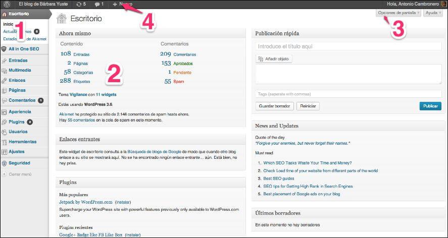 wp-como-publicar-posts-1 Qué es el dashboard de WordPress y cómo publicar contenidos